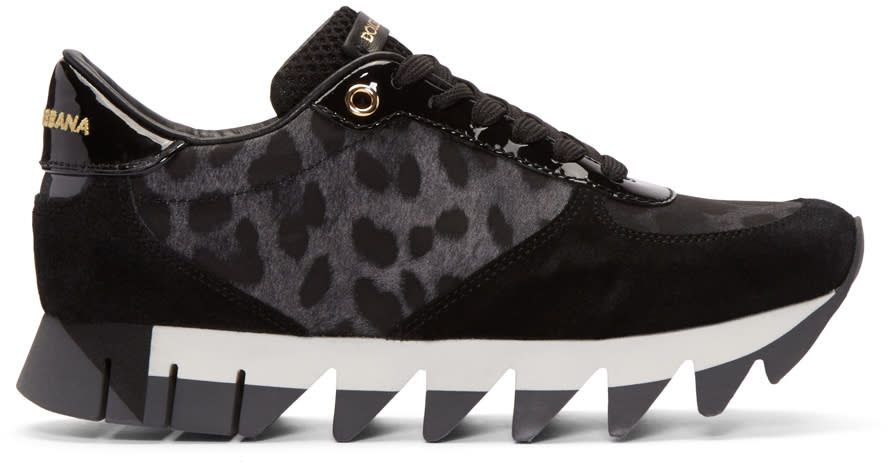 Dolce and Gabbana Black Leopard Sneakers