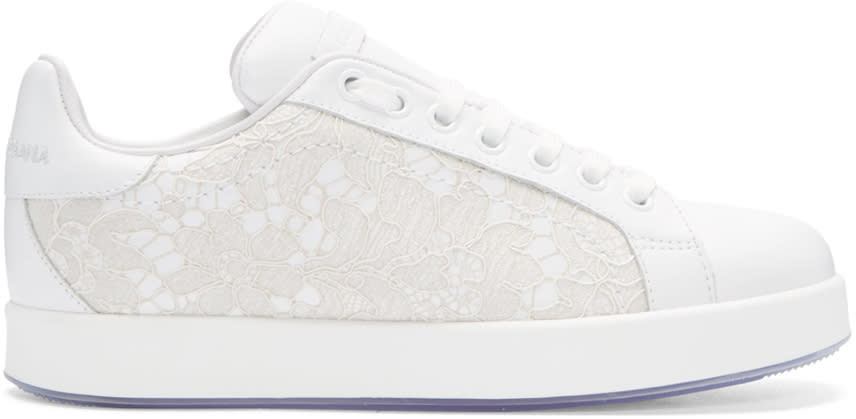 Dolce and Gabbana White Leather and Lace Sneakers