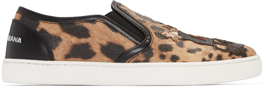 Dolce and Gabbana Black and Tan Leopard Print Slip-on Sneakers