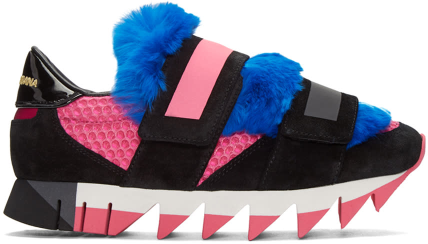 Dolce and Gabbana Tricolor Fur Velcro Sneakers