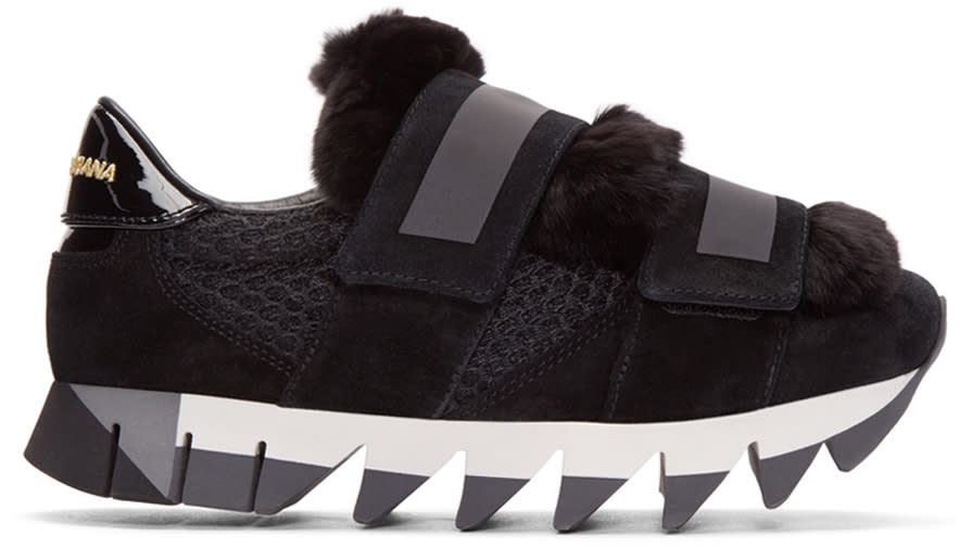 Dolce and Gabbana Black Fur-trimmed Sneakers