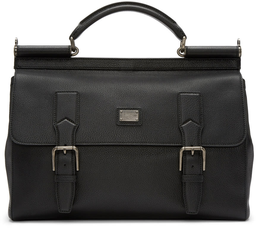 Dolce and Gabbana Black Sicily Messenger Bag