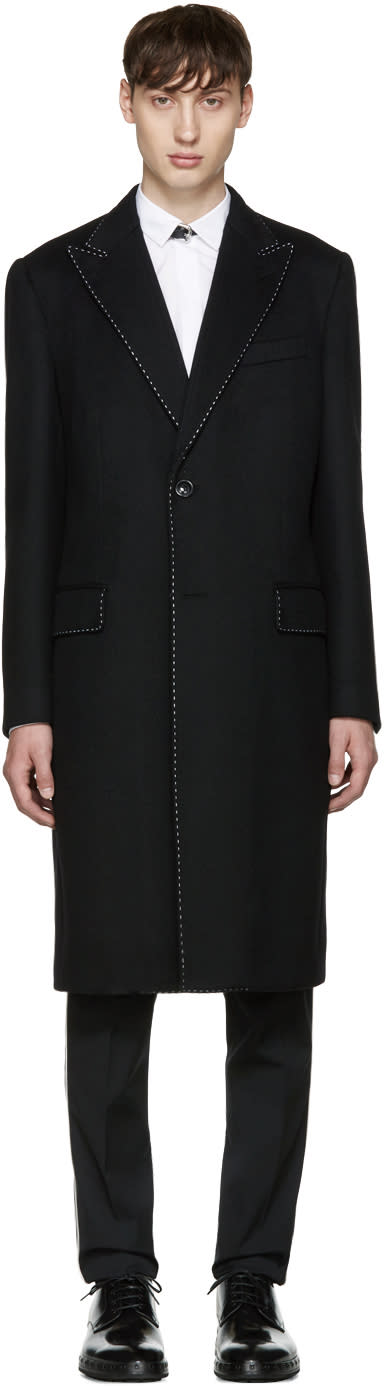 Dolce and Gabbana Black Topstitched Coat