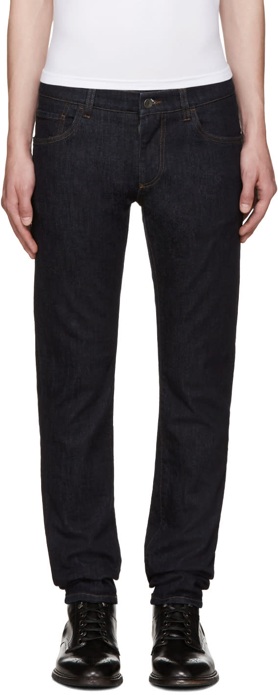 Dolce and Gabbana Indigo Embroidered Jeans