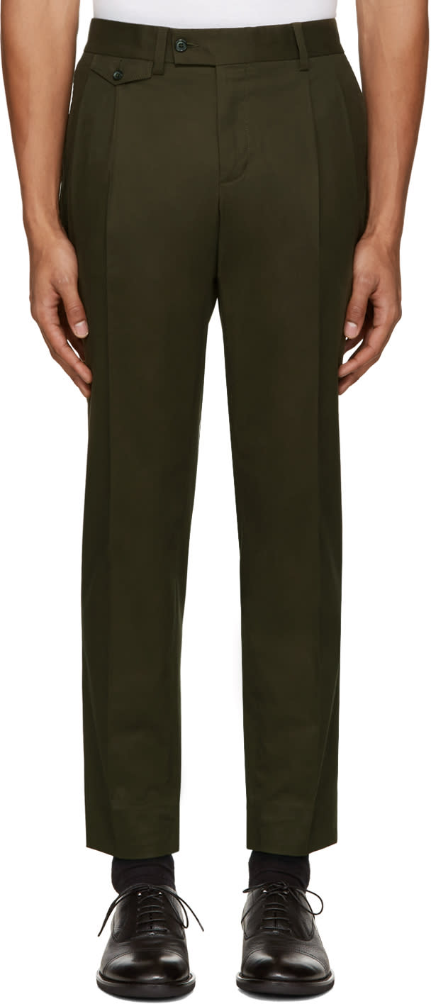 Dolce and Gabbana Green Pleated Trousers