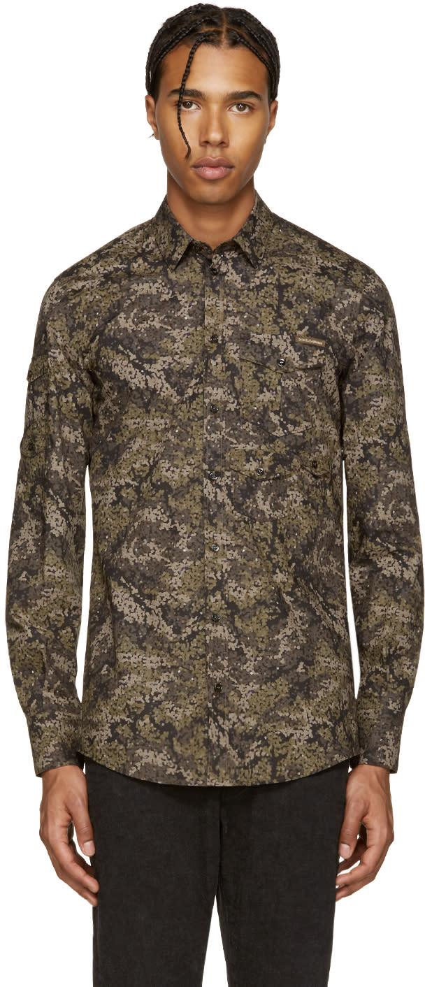 Dolce and Gabbana Green Camo Print Shirt