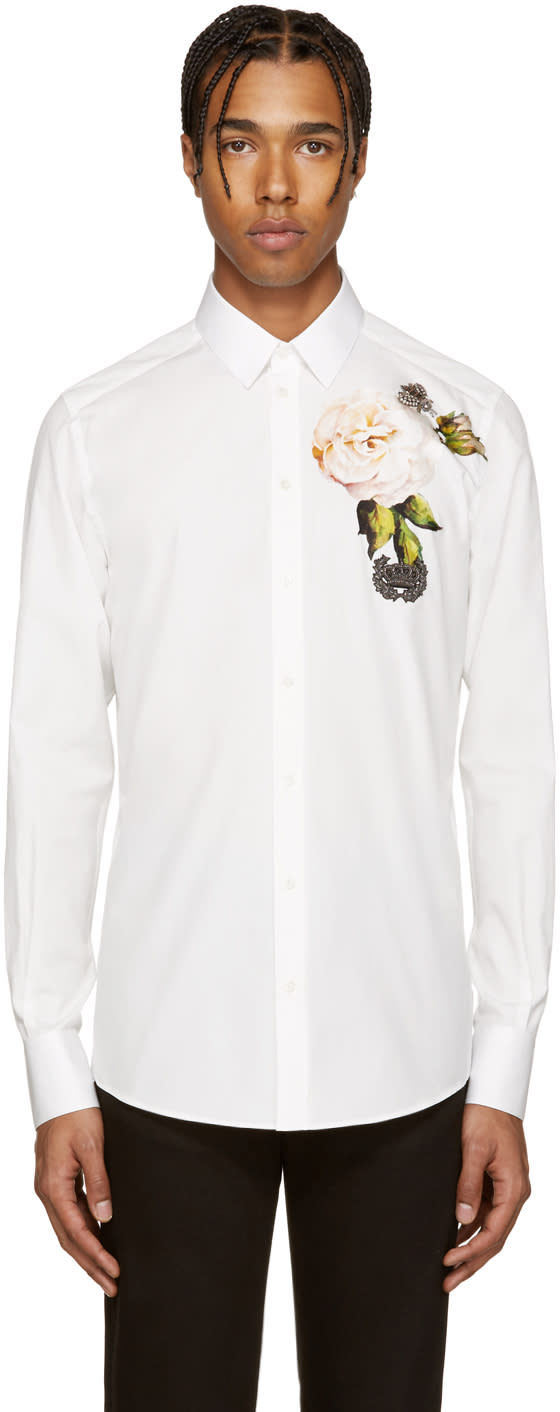 Dolce and Gabbana White Embellished Flower Shirt