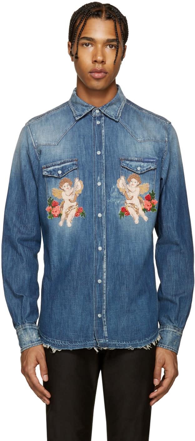 Dolce and Gabbana Indigo Cherub Shirt