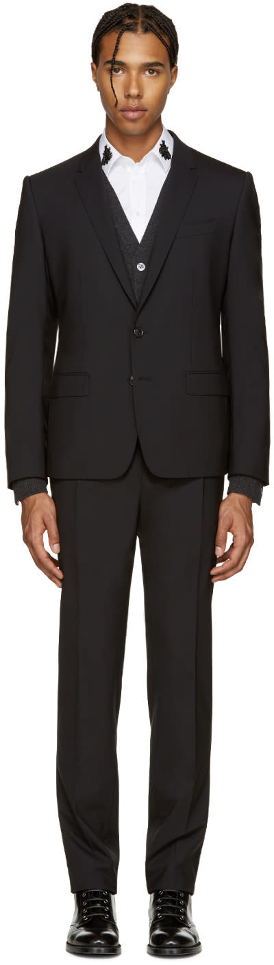 Dolce and Gabbana Black Wool Martini Suit