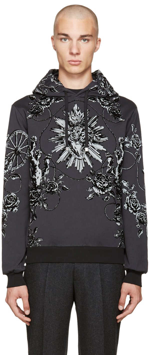 Dolce and Gabbana Grey Rose Hoodie