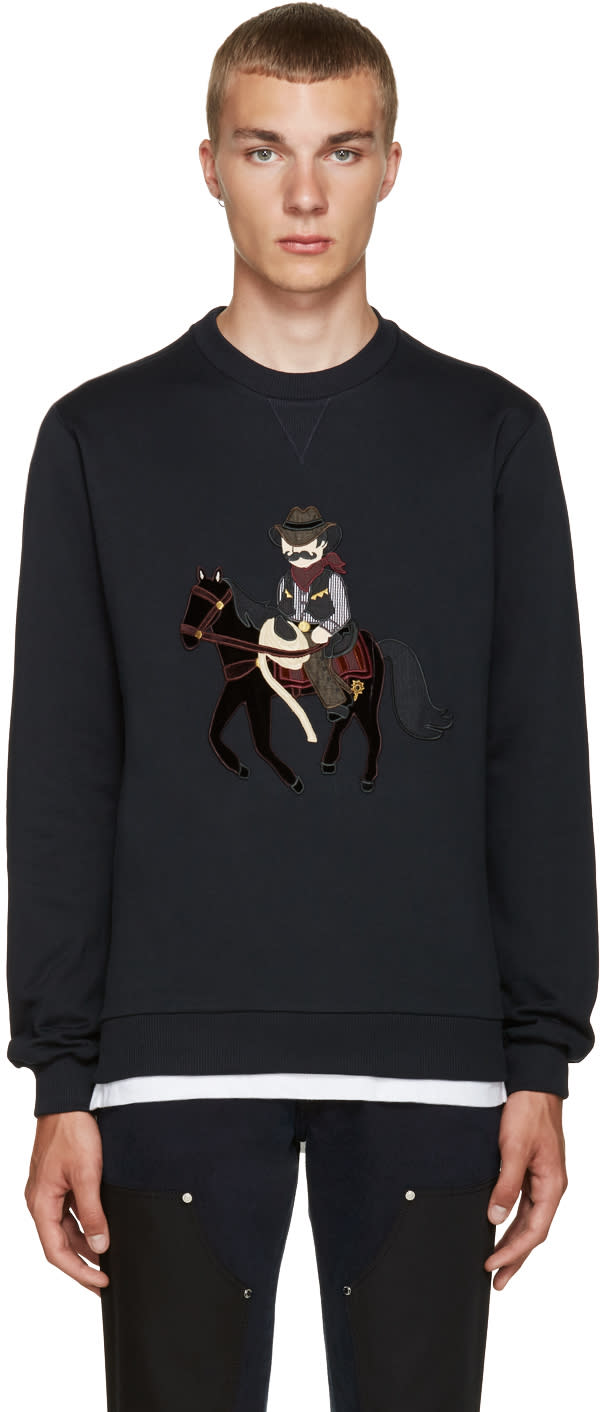 Dolce and Gabbana Navy Cowboy and Horse Pullover