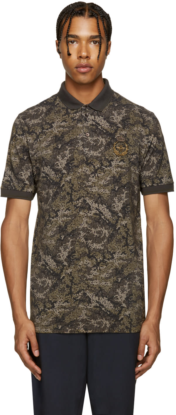 Dolce and Gabbana Green Camo and Bee Polo
