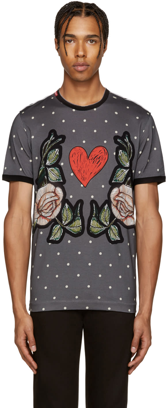 Dolce and Gabbana Grey Dot and Floral T-shirt