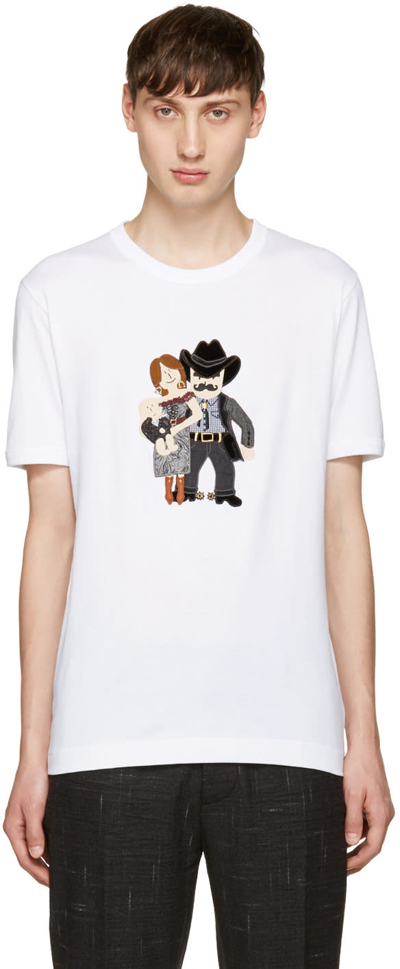 Dolce and Gabbana White Cowboy Family T-shirt