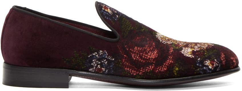 Dolce and Gabbana Burgundy Velvet Floral Loafers