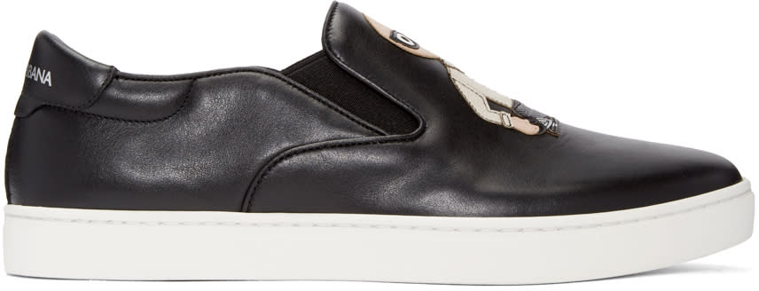 Dolce and Gabbana Black Designers Slip-on Sneakers