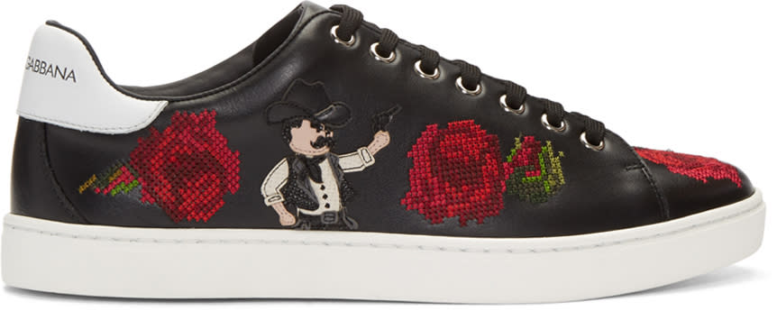 Dolce and Gabbana Black Cowboy and Roses Sneakers