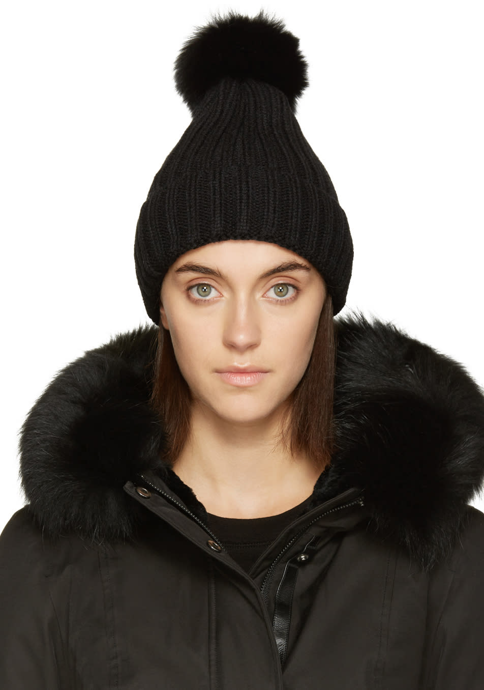 Mackage Black Fur Mac Beanie