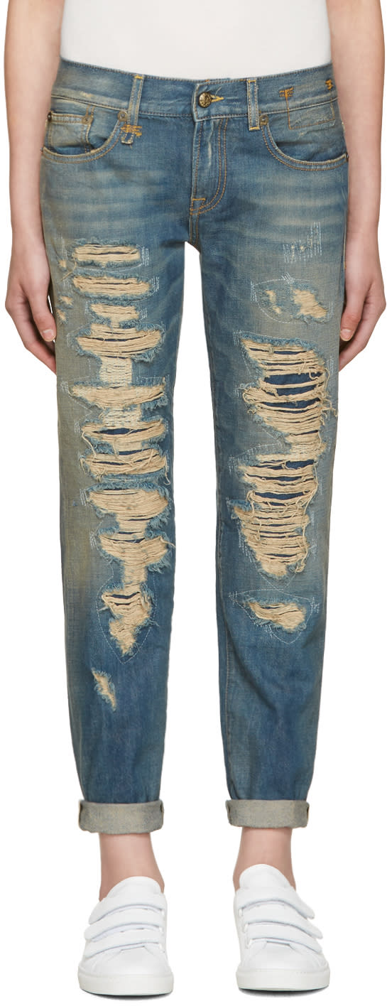 R13 Blue Relaxed Skinny Jeans