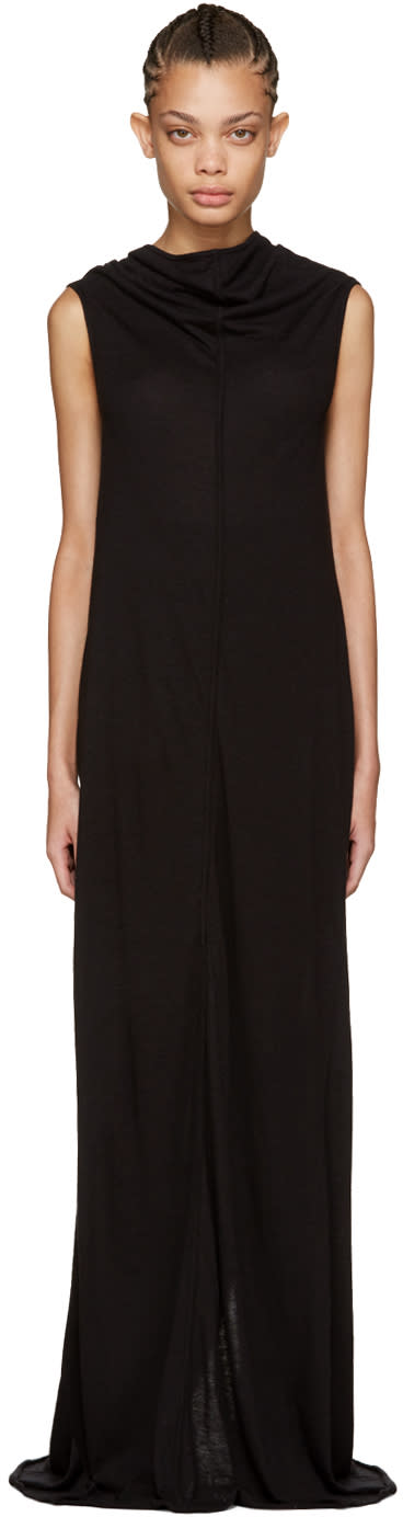 Rick Owens Lilies Black Long Jersey Dress