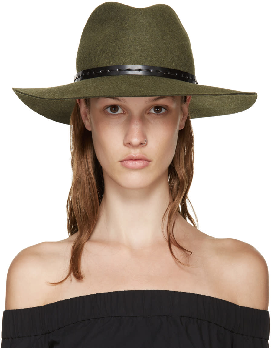 Rag and Bone Green Felted Wool Wide-brim Fedora