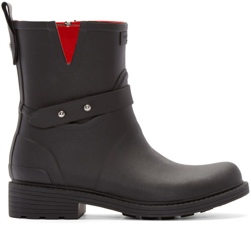Rag and Bone Black Rubber Moto Rain Boots