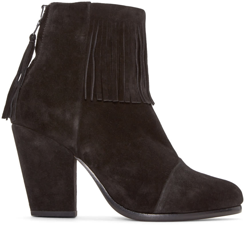 Rag and Bone Black Suede Fringed Newbury Boots