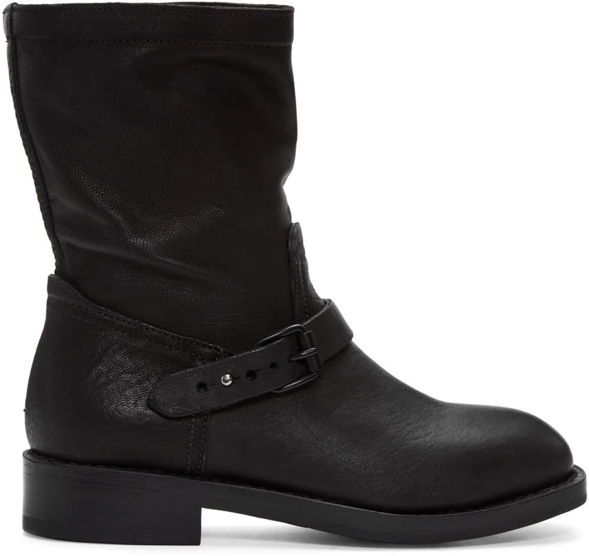 Rag and Bone Black Oliver Moto Boots