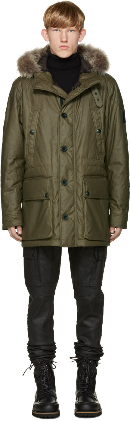 Belstaff Green Waxed Cotton Pathfinder Parka