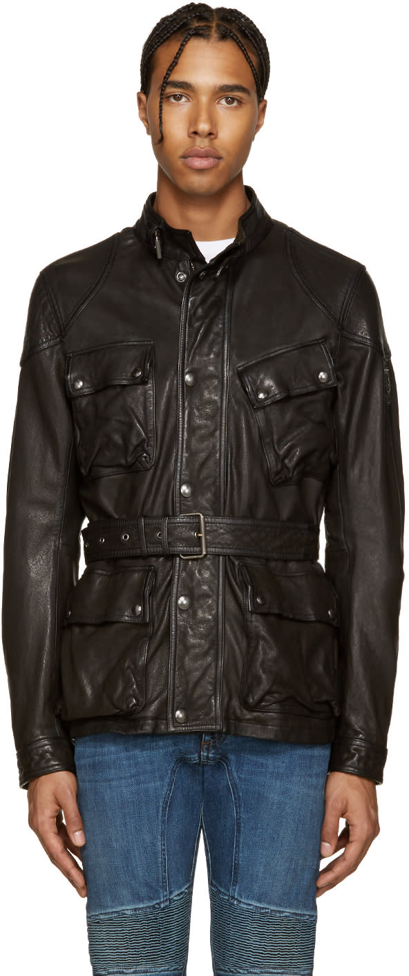Belstaff Black Leather Speedmaster Jacket
