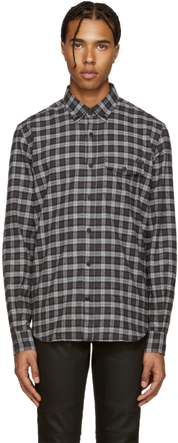 Belstaff Black and Grey Samuel Check Flannel Shirt