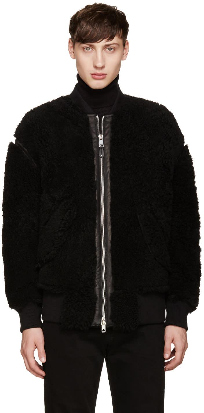 Diesel Black Gold Black Shearling Bomber Jacket