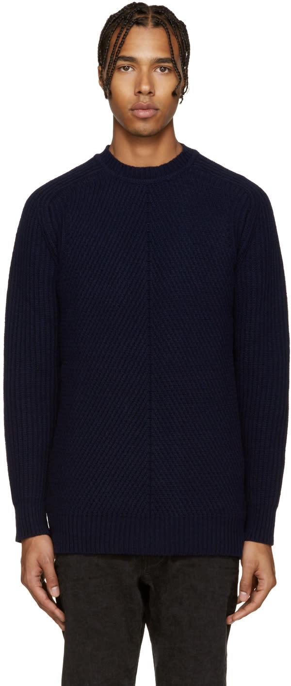 Diesel Black Gold Navy Wool Multi Gauge Sweater