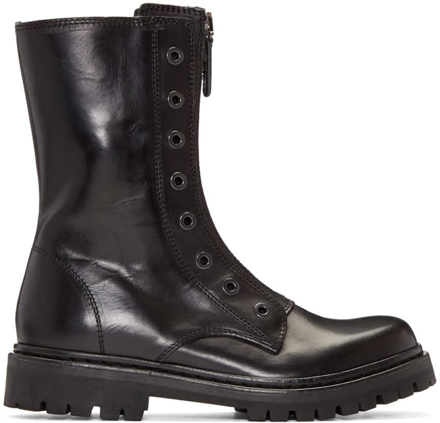 Diesel Black Gold Black Military Combat Boots