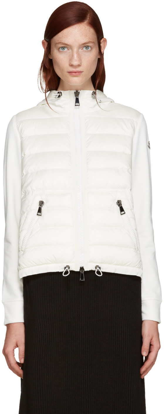 Moncler Ivory Down Panel Hoodie