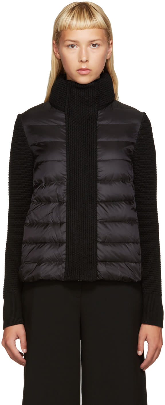 Moncler Black Down and Knit Jacket