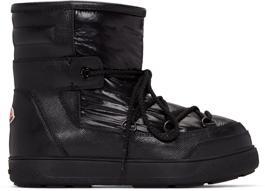 Moncler Black Leather Fanny Ankle Boots