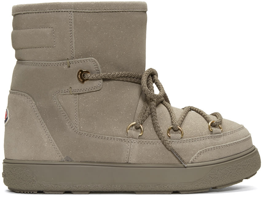 Moncler Beige Shearling Fanny Ankle Boots