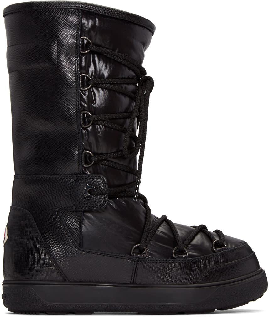 Moncler Black Leather Laetitia Boots