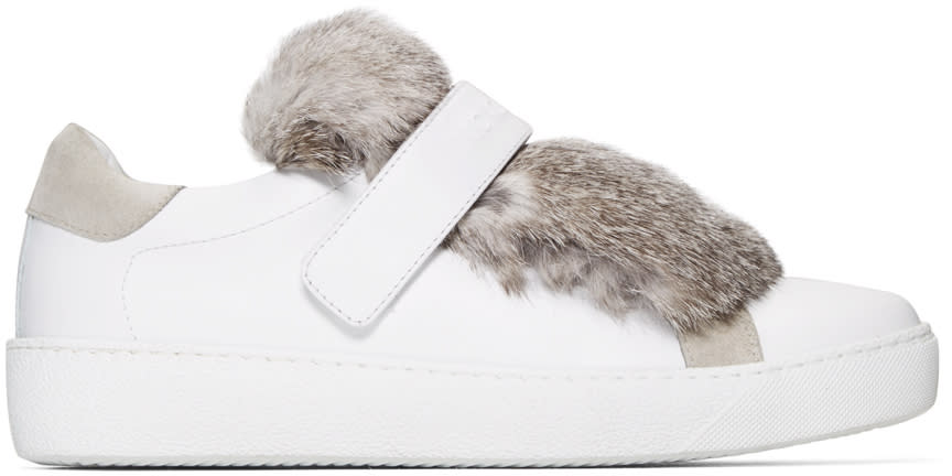 Moncler White Leather and Fur Lucie Sneakers