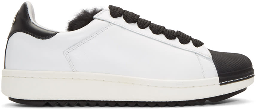 Moncler White Fur Angeline Sneakers