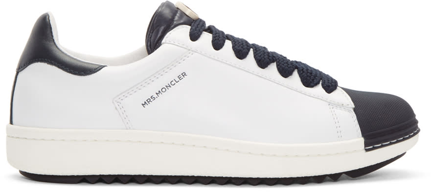 Moncler White And Navy Angeline Sneakers