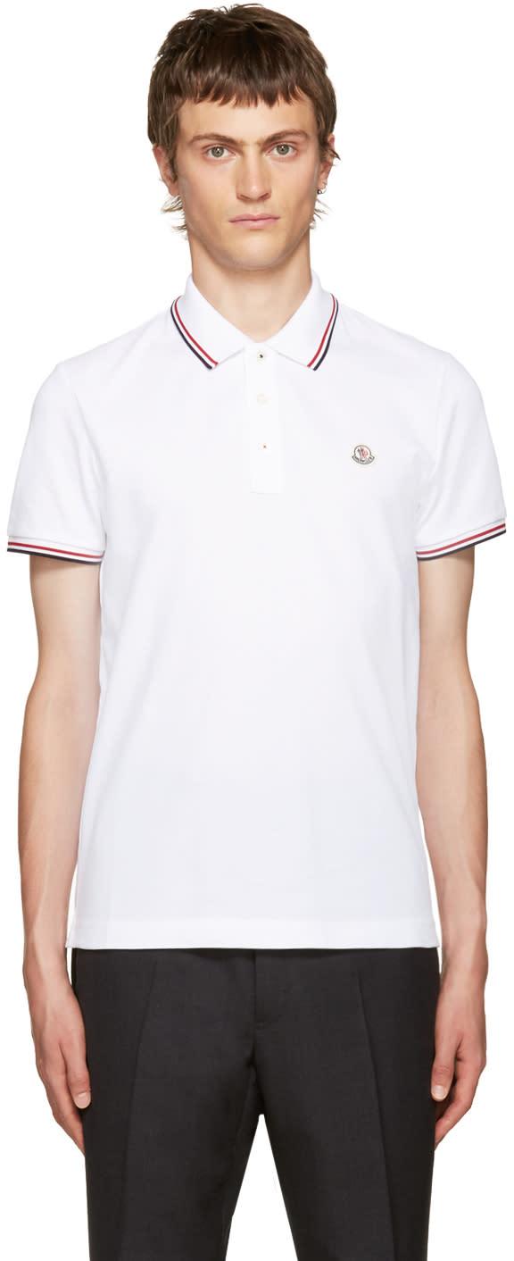 Moncler White Piqué Polo