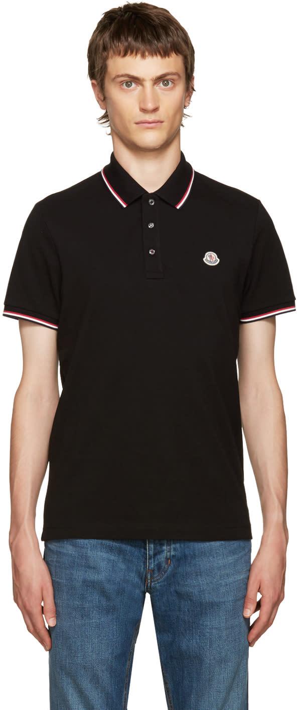 Moncler Black Pique Polo