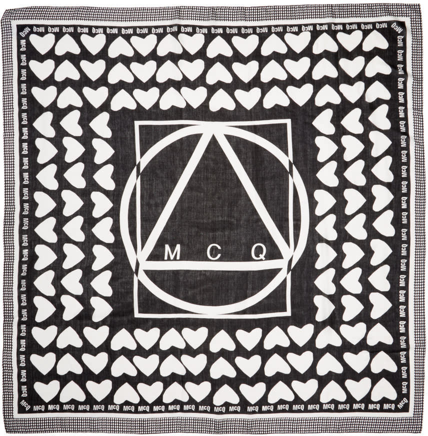 Mcq Alexander Mcqueen Black and White Heart Scarf