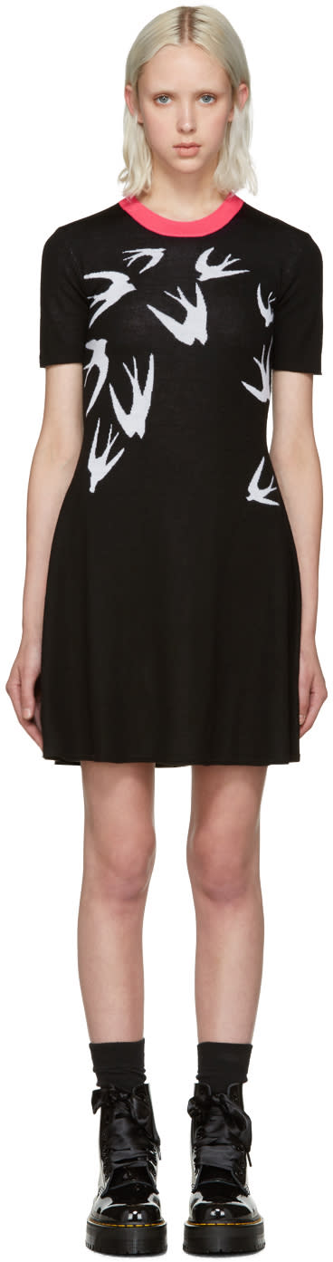 Mcq Alexander Mcqueen Black Jacquard Swallows Dress