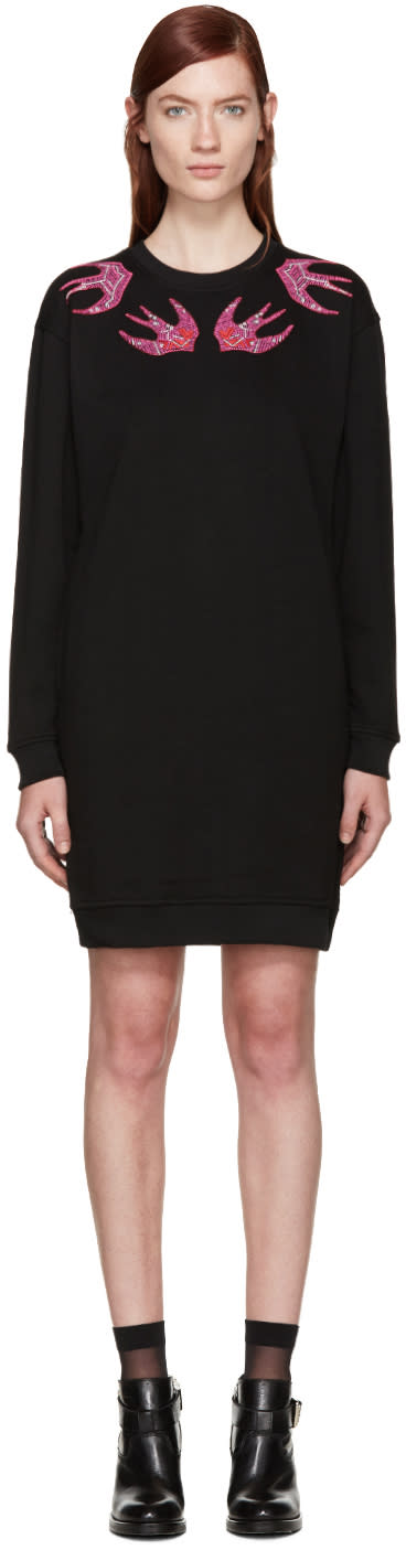 Mcq Alexander Mcqueen Black Swallows Dress