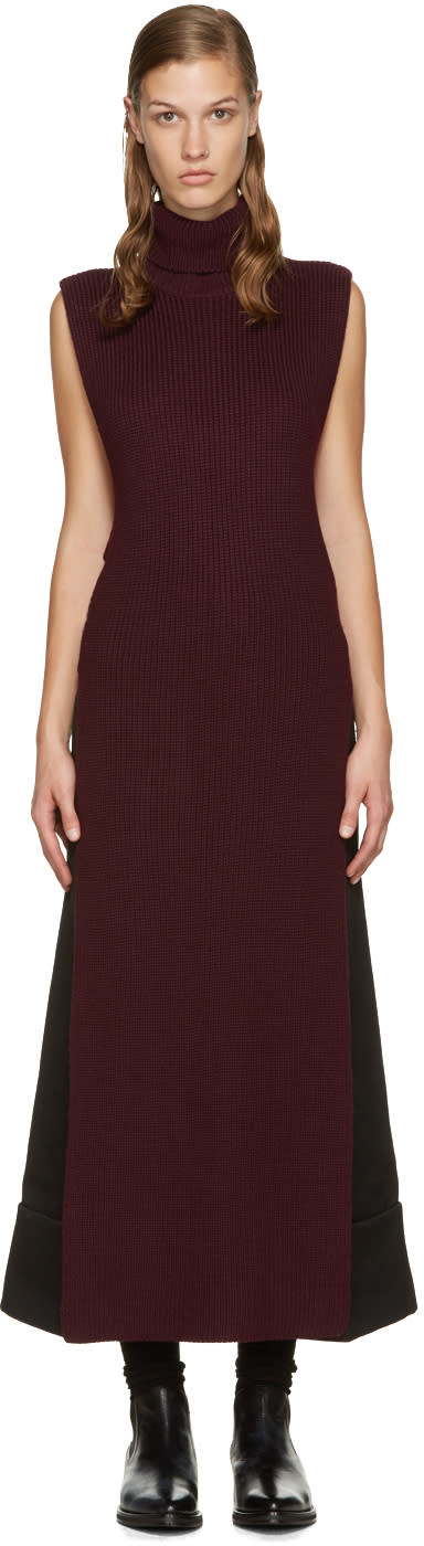 Mcq Alexander Mcqueen Burgundy Open Turtleneck
