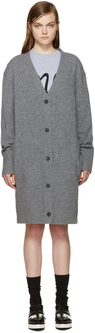 Mcq Alexander Mcqueen Grey Wool Long Cardigan