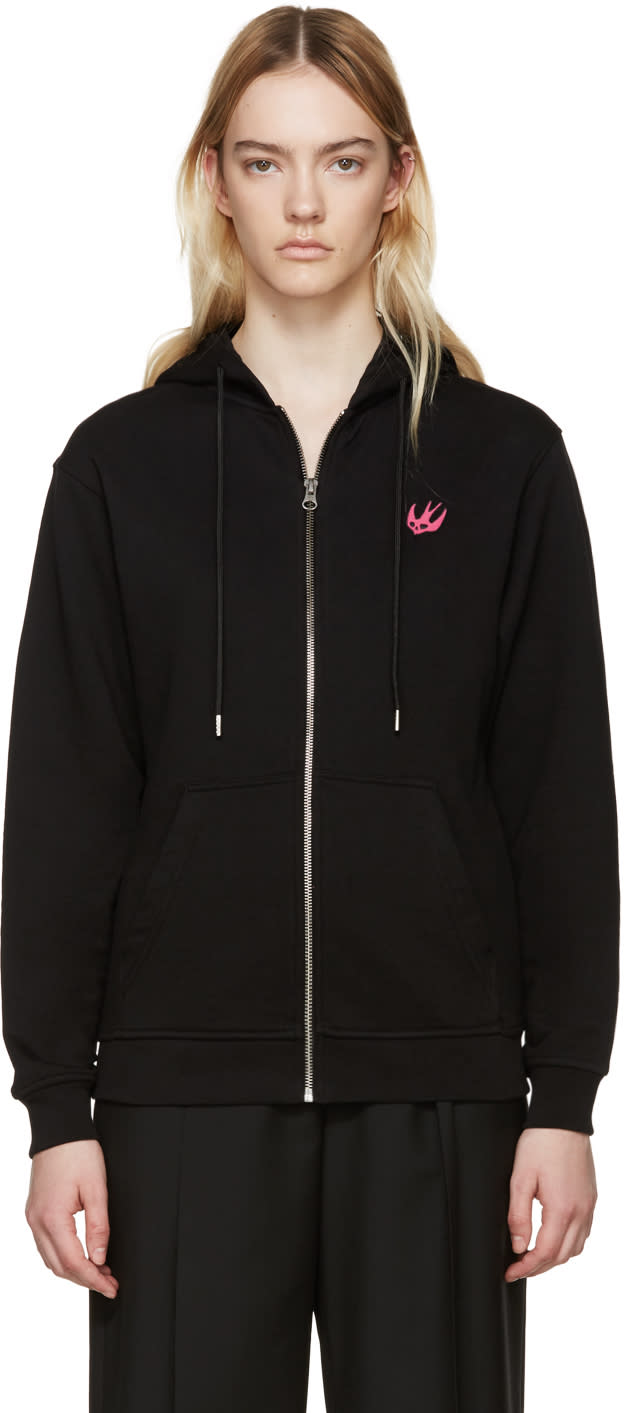 Mcq Alexander Mcqueen Black Embroidered Hoodie